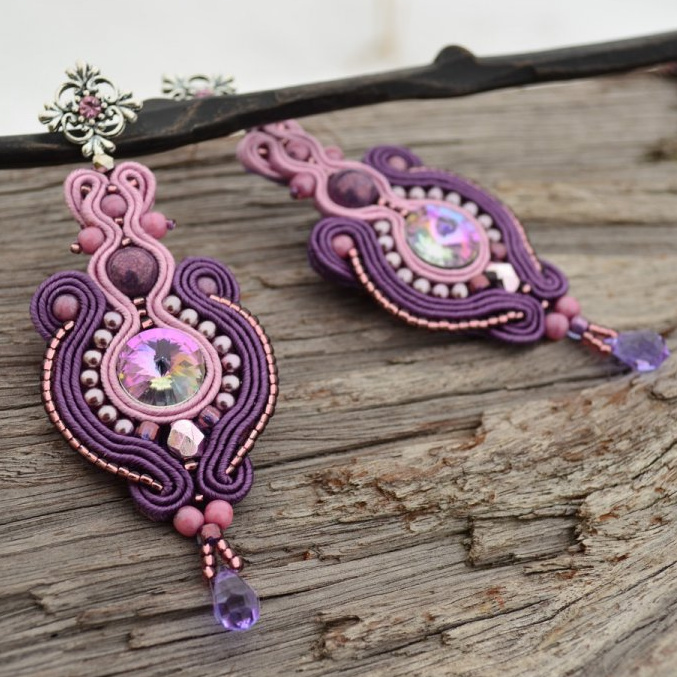 Soutache náušnice Dream Violets