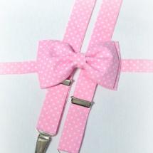 Pánský set motýlek + šle růžový na bílé tečky 57d8fed211
