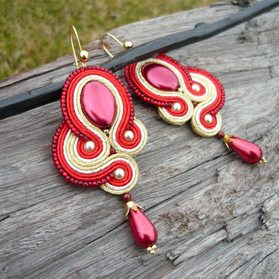 Soutache náušnice Luxury Pearl Red & Gold