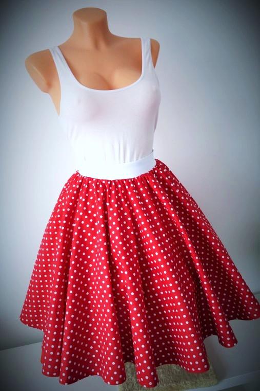 kolová sukně červená – Potvor - pomáhat tvořit 53330a47d1