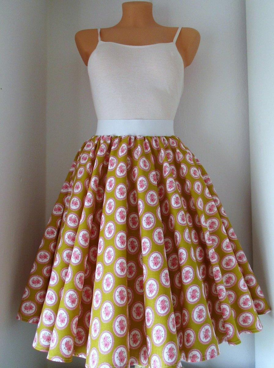 3716574cad12 Kolová sukně růžička v medové – Potvor - pomáhat tvořit