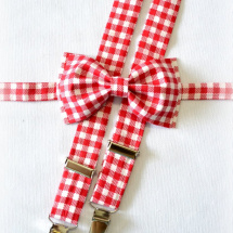 Pánský set motýlek + šle kostkovaný červený c381fb583b