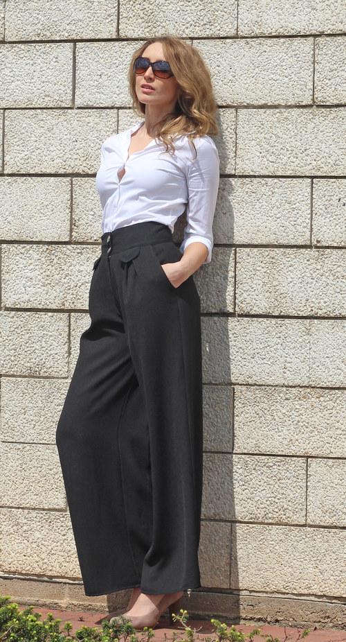 Černé široké kalhoty – Potvor - pomáhat tvořit 8ace481bbb