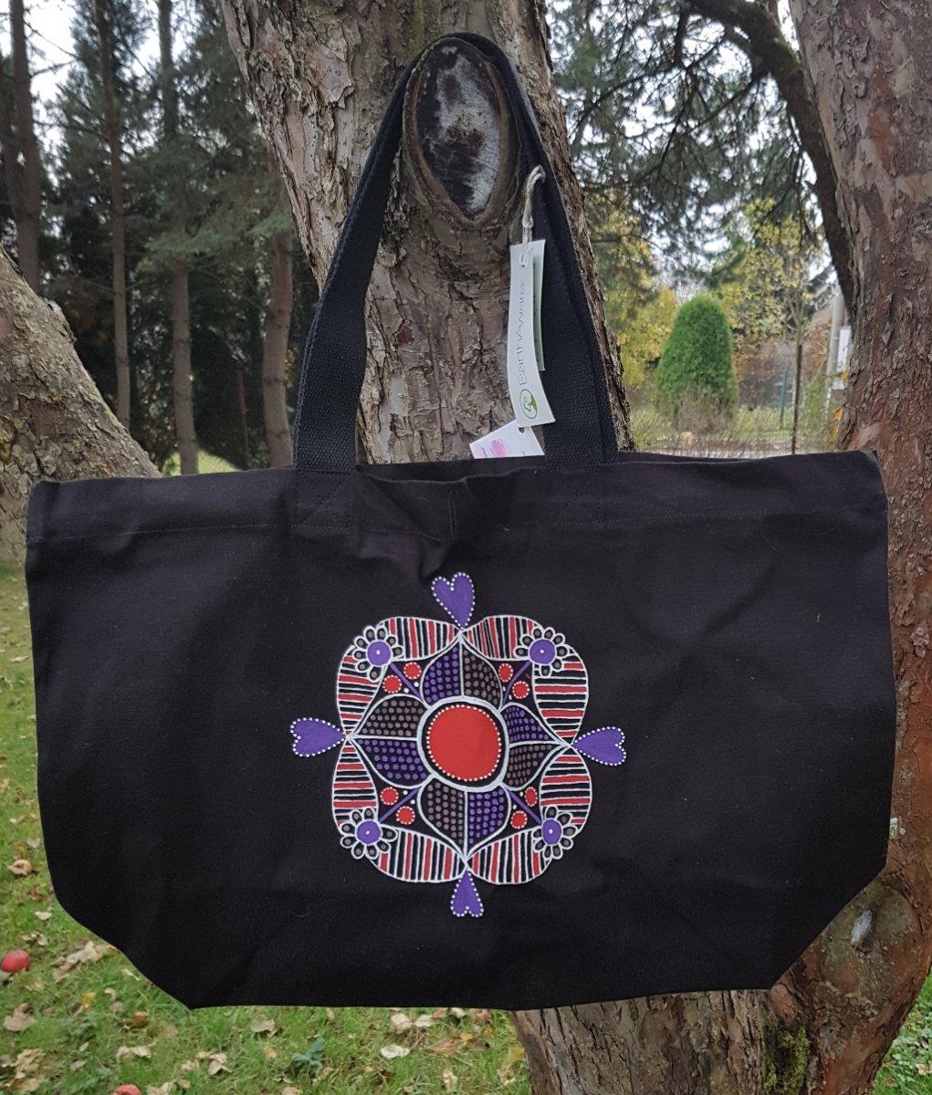 Černá VELKÁ plátěná taška s mandalou-ručně malovaná – Potvor ... a8e57df912