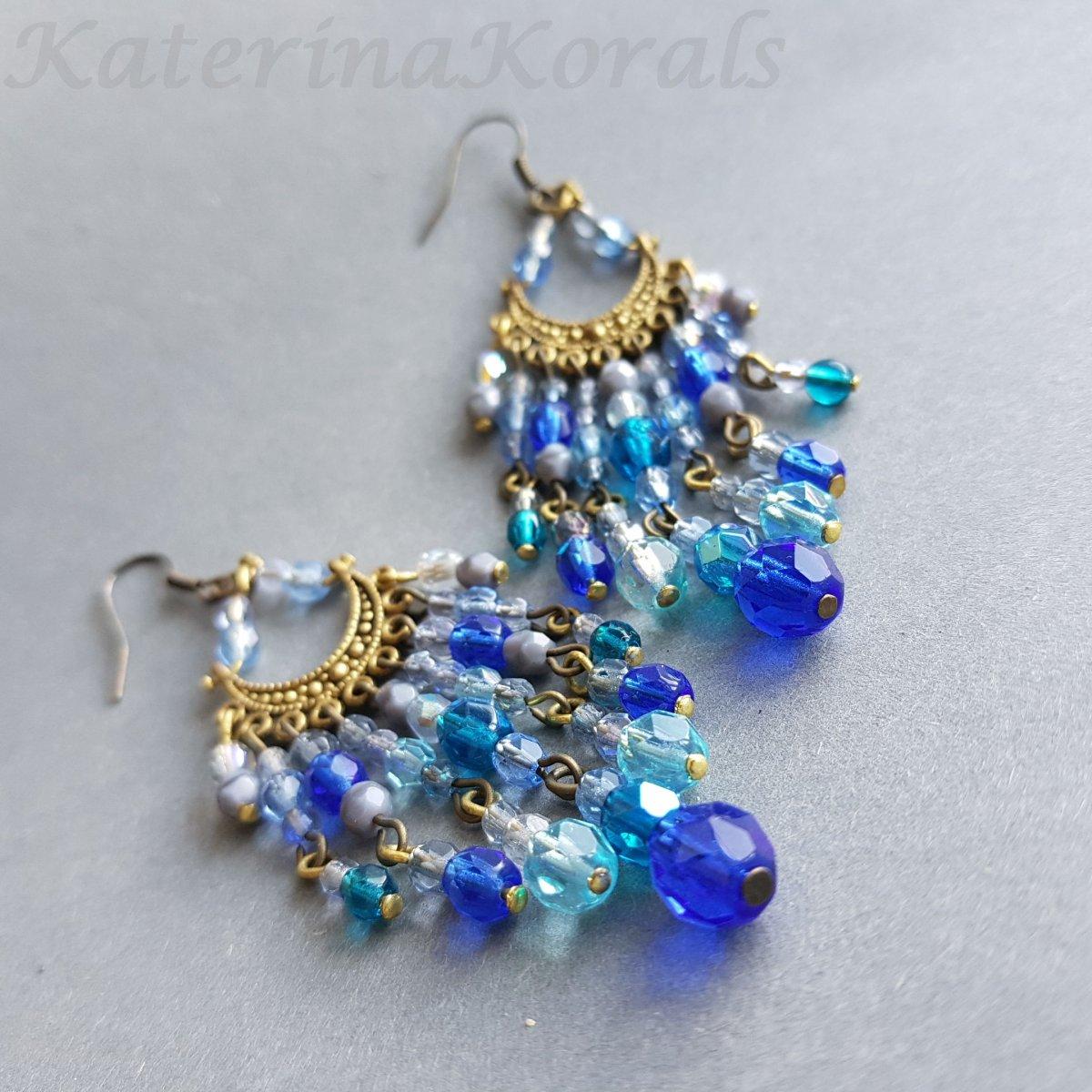 Korálkové náušnice modré  9533bd9ce0b
