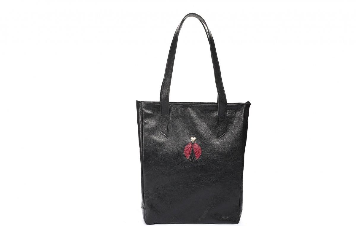 Velká kožená taška - černá s aplikací – Potvor - pomáhat tvořit 020b33d32f