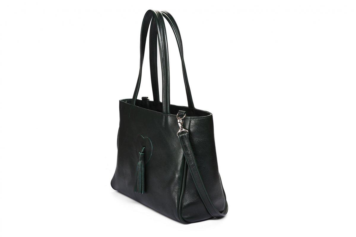 Velká kožená taška - tmavězelená s aplikací – Potvor - pomáhat tvořit 06f4cf3353