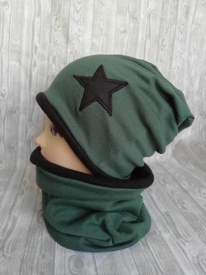 čepice a nákrčník-zimní zelená a černá-hvězda – Potvor - pomáhat tvořit 7c041ff090