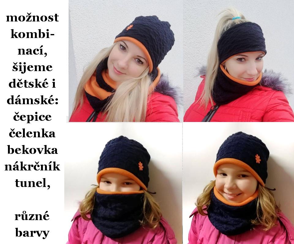 čepice a nákrčník-zimní dětský modrá tm+oranžová – Potvor - pomáhat ... 16a03b2ad0