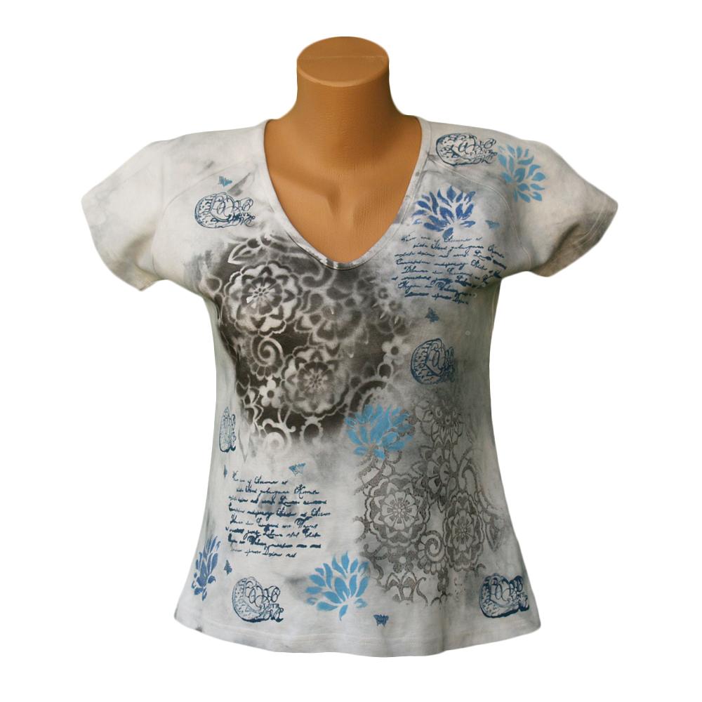b8696236f494 Šedé batikované dámské tričko vel.44 – Potvor - pomáhat tvořit
