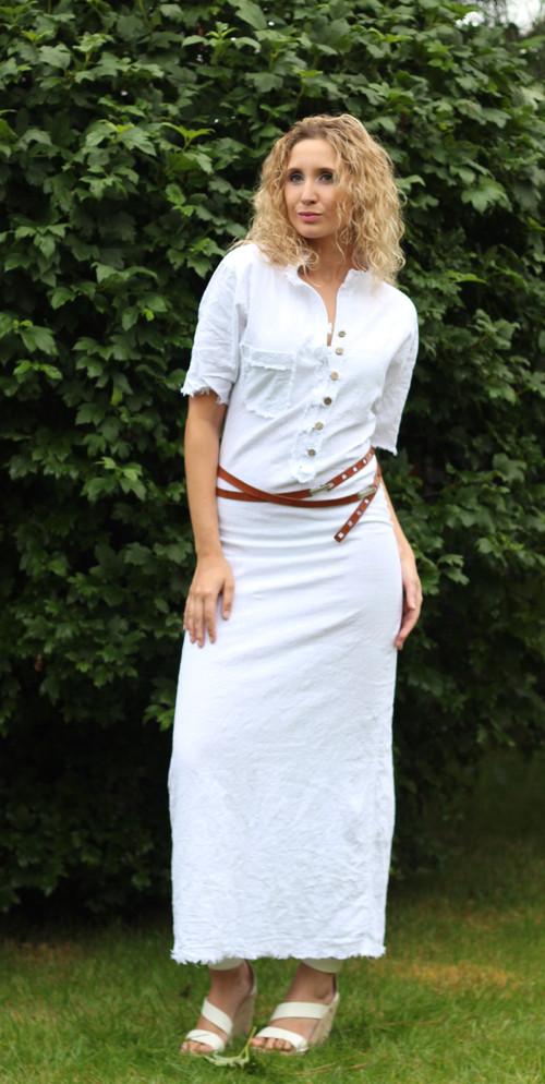 Lněné dlouhé šaty – Potvor - pomáhat tvořit 4820924179