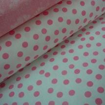 cd9a5f5d335 Bavlněná látka - metráž - bílá a větší růžový puntík - š. 150 cm