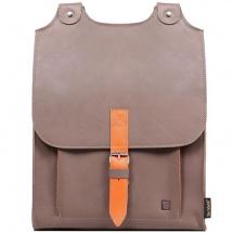 Kožený batoh béžovohnědý s oranžovým řemínkem 2c73740bdc