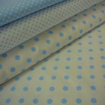 89617a17798 Bavlněná látka - metráž - světle modrý puntík na bílé - š. 150 cm
