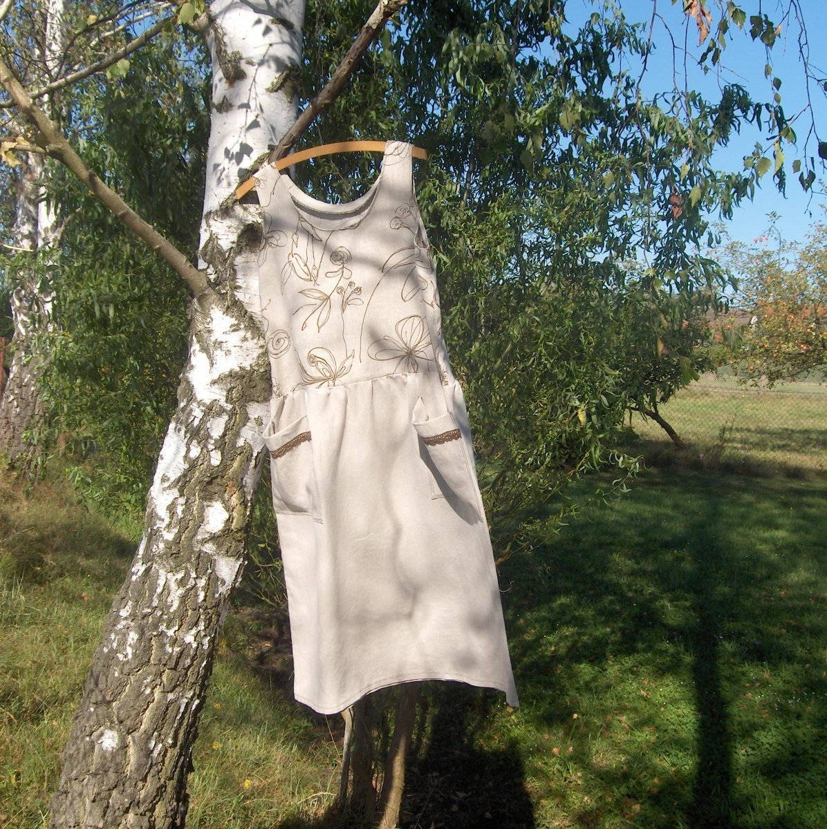 Volné šaty - lněné...... – Potvor - pomáhat tvořit 8d8ab07d05