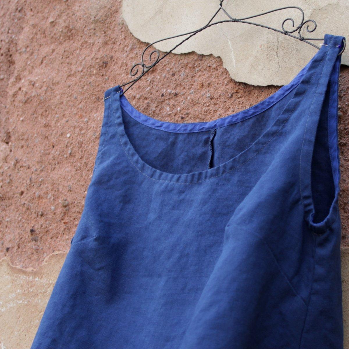 Modré lněné šaty – Potvor - pomáhat tvořit 0b99041502