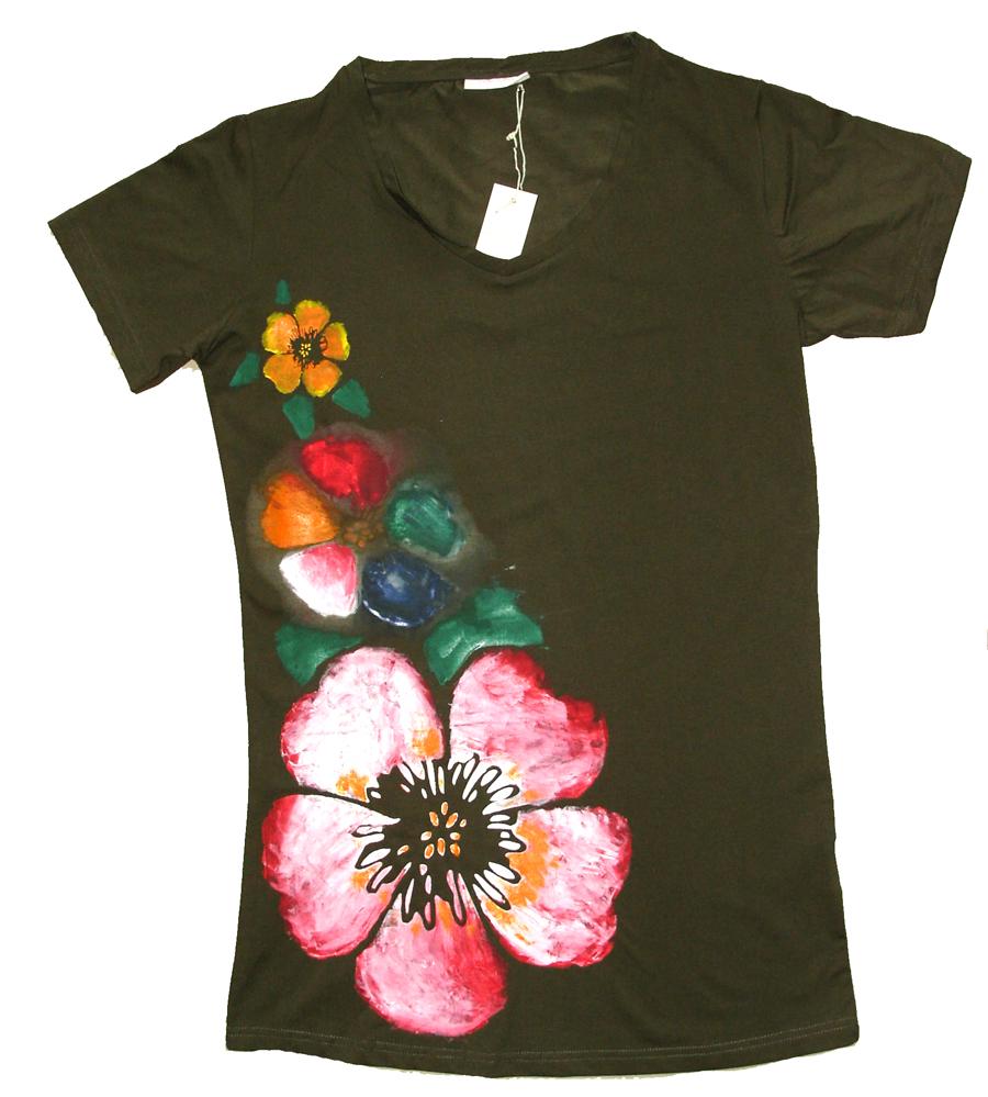 Dámské Dlouhé tričko s potiskem 3 květiny. – Potvor - pomáhat tvořit e38ad10987