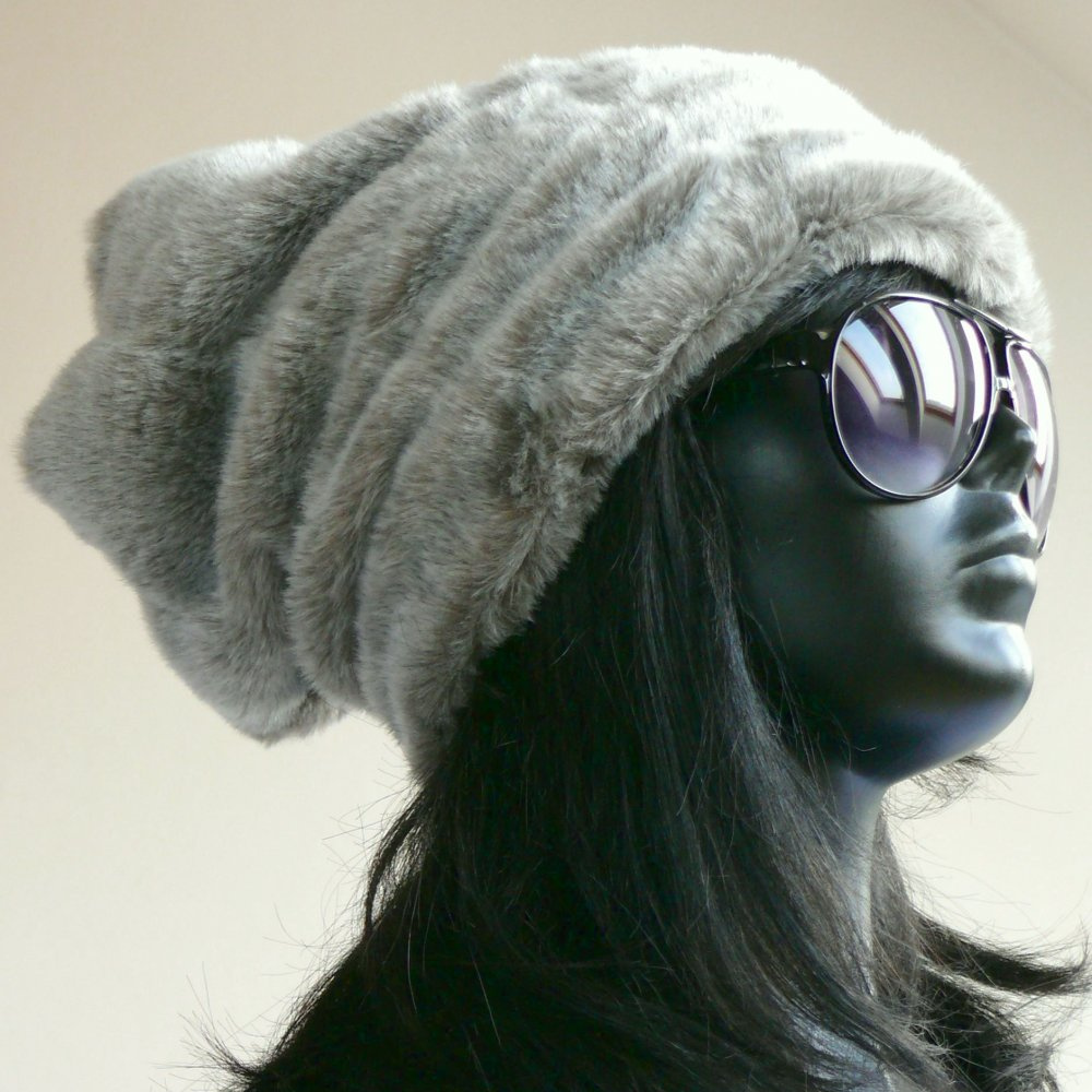 Oversized Hipster Hat/Grey/FakeFur