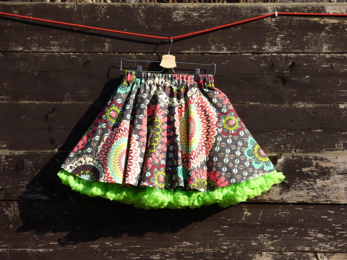 6bc858eba50 FuFu sukně mandala šedá se zelenou spodničkou – Potvor - pomáhat tvořit