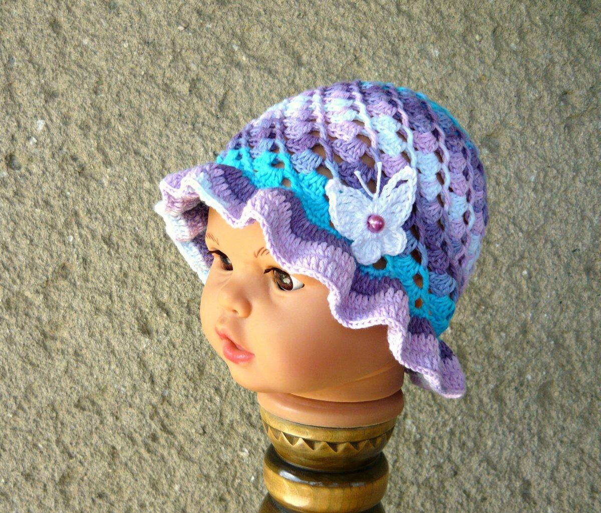 d17133413ec Háčkovaný klobouček fialovo-tyrkysový  -) – Potvor - pomáhat tvořit