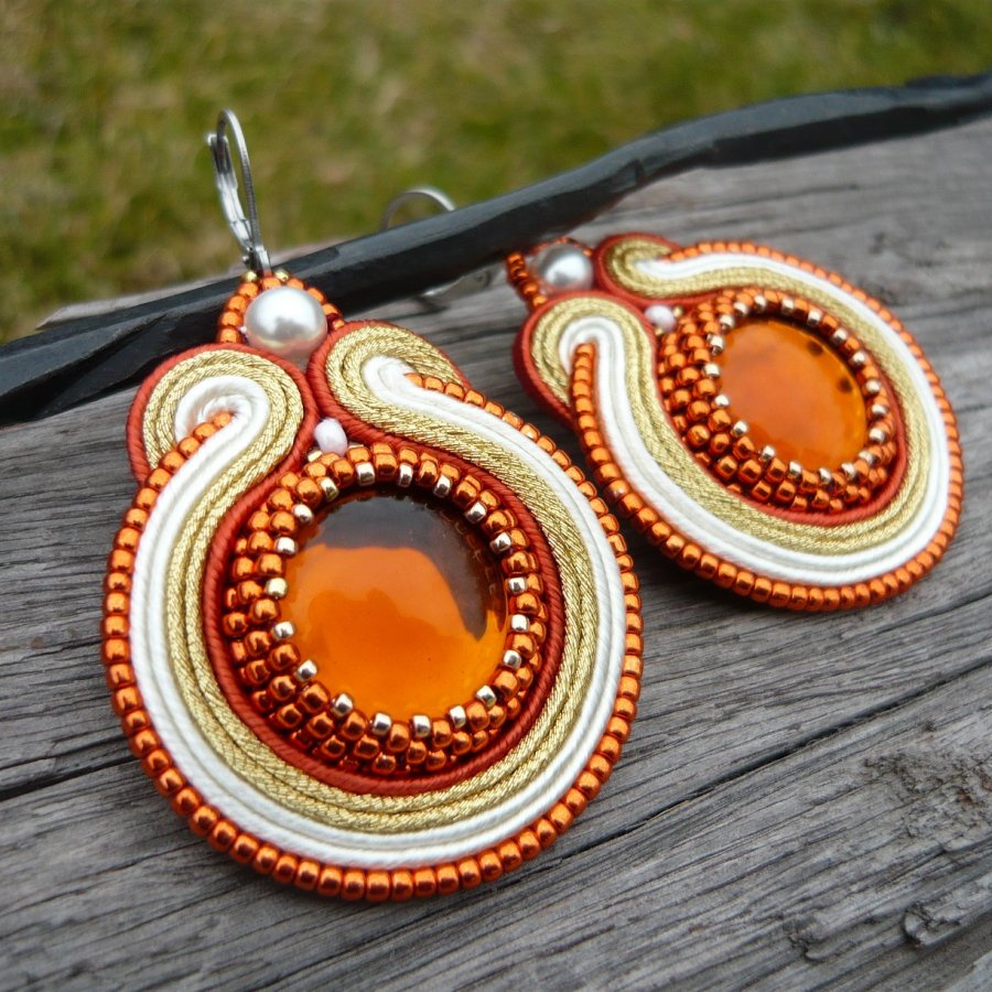 Soutache náušnice Golden Oranges