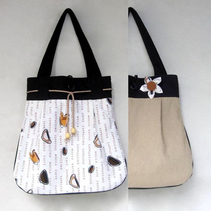 16fcb3c0f9 Kafíčka s béžovou OBOUSTRANNÁ taška 2v1 – Potvor - pomáhat tvořit