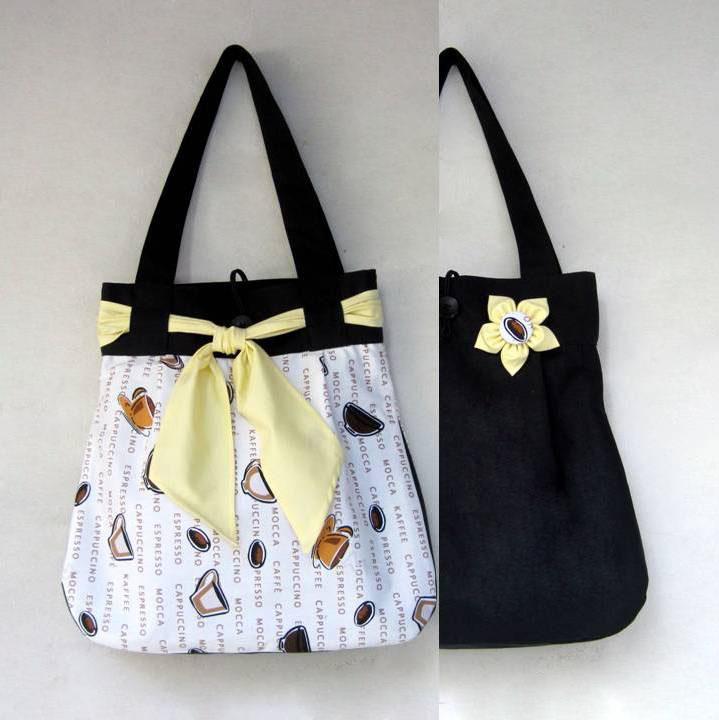 148bd32a69 Kafíčka s černou OBOUSTRANNÁ taška 2v1 – Potvor - pomáhat tvořit