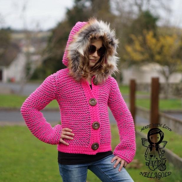 050e610cb19 Pletený kabátek s kapucí - návod 192 – Potvor - pomáhat tvořit