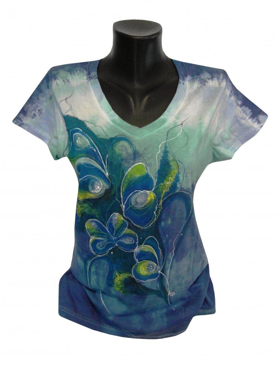 7fde72f94a5 Zeleno-modré tričko s motýli -ručně malované – Potvor - pomáhat tvořit