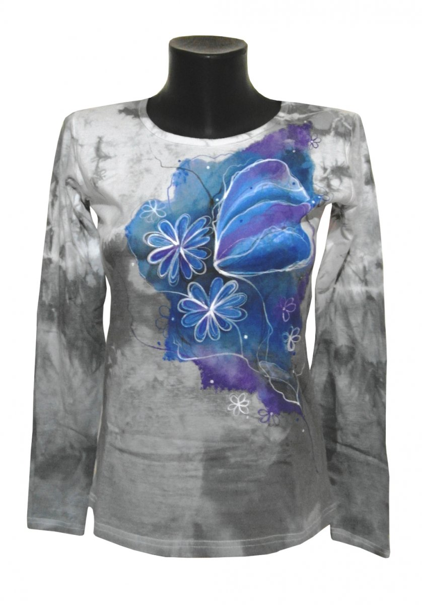 d1bb9006b8c Šedé triko- motýl květiny ručně malované – Potvor - pomáhat tvořit