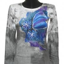 Šedé triko- motýl květiny ručně malované 6b16f18613