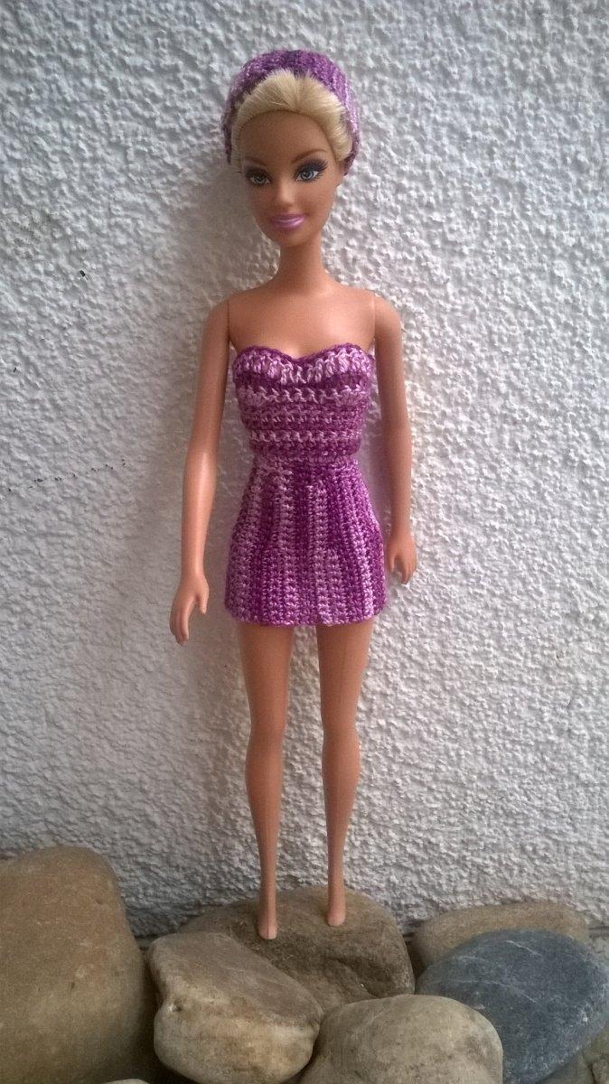 Háčkované mini šaty s čelenkou pro Bárbie - fialový melír – Potvor ... f29c9aa6c5