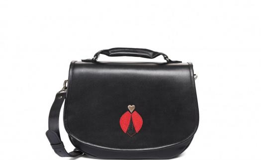 Kožená kabelka - černá s aplikací – Potvor - pomáhat tvořit 445e2371a8