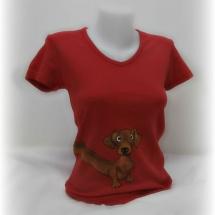 originální ručně malované tričko - jezevčík e055415fed