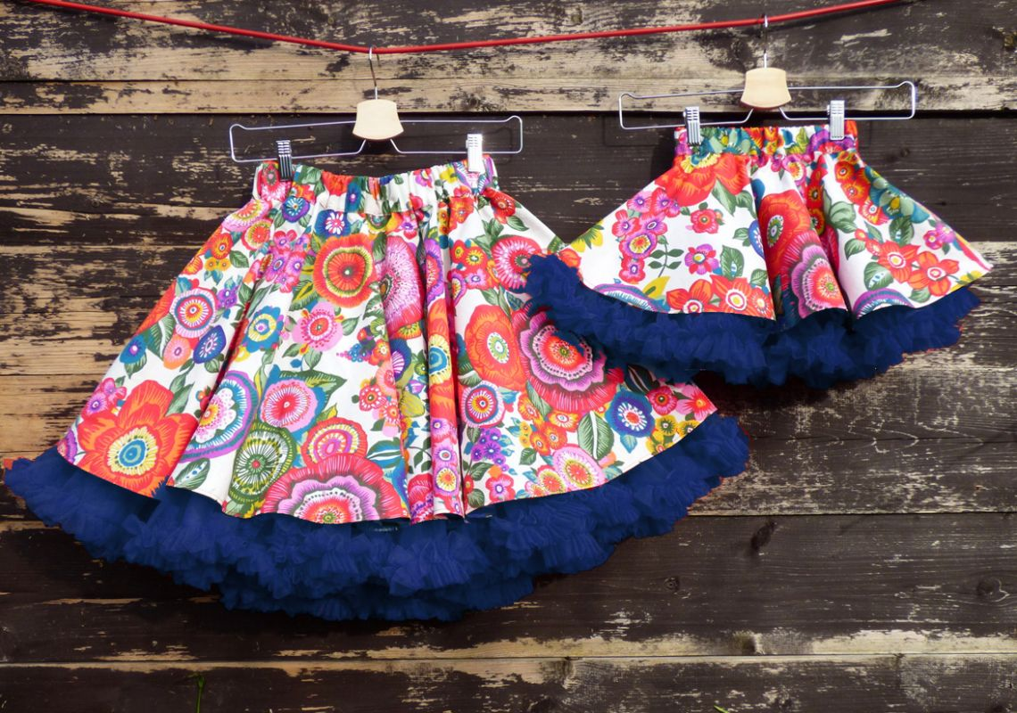 db31b1831b7 FuFu sukně pro maminku a dceru - květy s modrou spodničkou – Potvor ...
