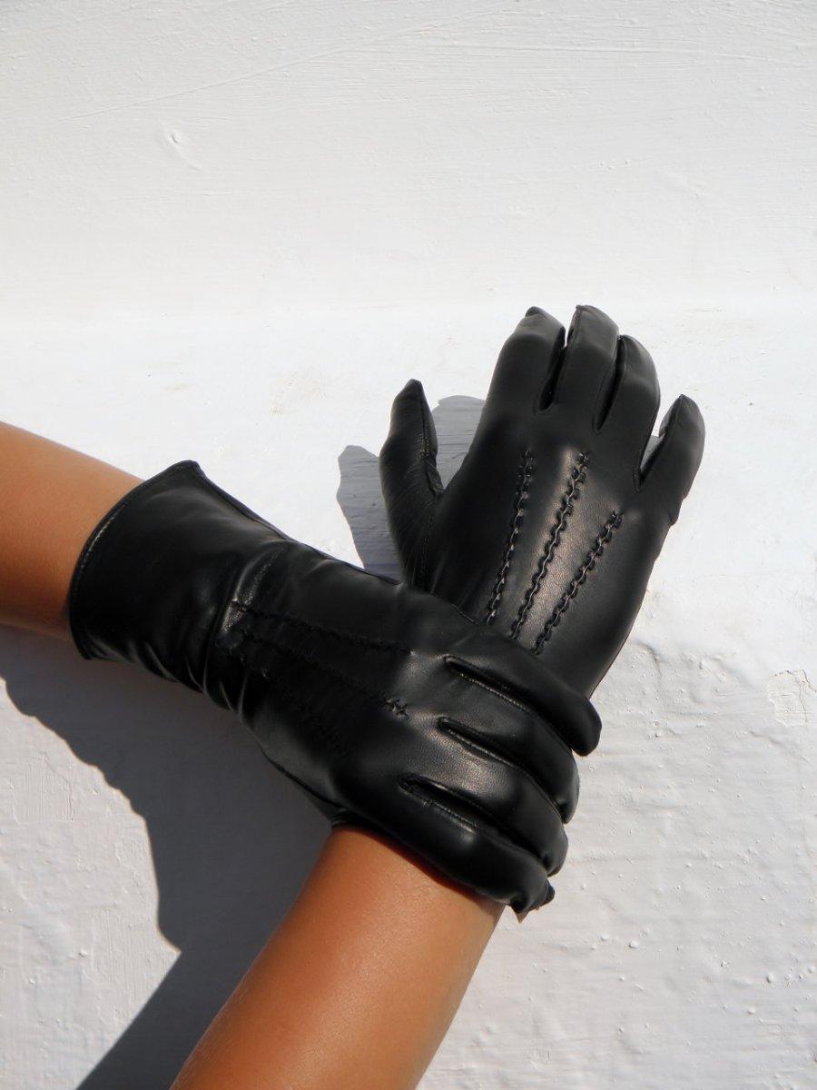 Černé dámské kožené rukavice s hedvábnou podšívkou – Potvor ... b6c739e498