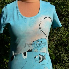9b384628fd87 Veselá kočka dámské batikované tričko vel. XL