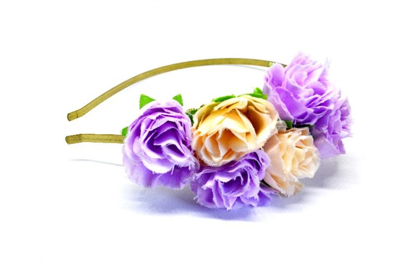 742f8ecad49 Krásná kovová čelenka do vlasů růže fialové a béžové – Potvor ...