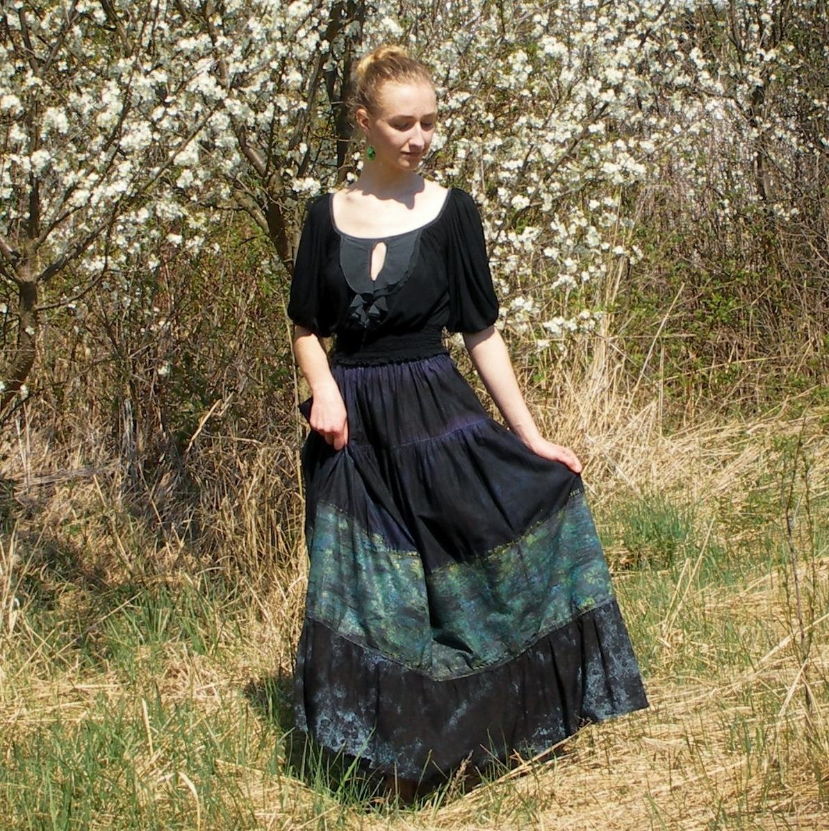 8230418302d0 Maxi sukně modro-zelená S-XL – Potvor - pomáhat tvořit