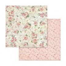 Oboustranný papír na scrapbook Růžové růže a text (SBB579) 0e6f628a27